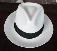 Brand 100% wool felt fedora Panama hat fashion gentleman white Jackson hat black band chapeau 6.5cm brim fedoras