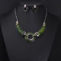 High quality 2014 Fashion Luxurious stone Choker Statement & Pendant Necklace women dress party Jewelry sets , Free Shipping