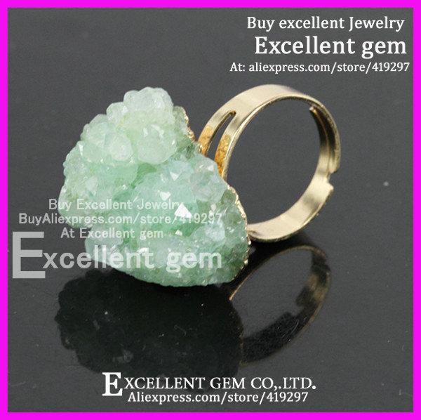 High quality 5pcs Bright Grass Green colors 24kt gold filled Natural Gem Druzy green quartz Ring(China (Mainland))