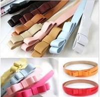 Wholesale - Ladies' sweet waist belt candy color princess leather belt double bowknot belt 360pcs/lot