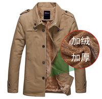 New 2014 Man Winter Europe Cotton Jacket Outdoor Parkas Warm Thicken Outwear Coat Causal Clothes Turn-down Collar Collar Zip 4XL