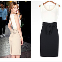 New Womens Open Back Bowknot Belt Vest Sundress Party Evening Mini Pencil Dress WZ006
