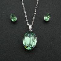 Fashion Delicate Design Precious Green Water Drop Clear Austria Crystal Women Wedding Jewelry Set High Quality