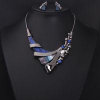 Newest 2014 Fashion Luxurious stone Geometric Choker Statement Necklace women dress party Jewelry sets , Free Shipping