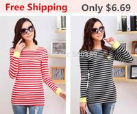 2014 women fashion t shirts clothing Stripe Loose Cotton plus size Long sleeve crop topWomen T-shirt discounts vintage style