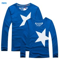2015 spring long sleeve Couple Tee retail lovers shirts long sleeve high quality star his-and-hers clothes PANYA QQL06