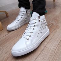 Punk Rivets Sneakers Men Metal Ornaments PU Autumn Male Shoes Fashion Zipper High Top Sneaker Homens Sapatos Casuais