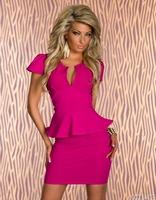 High Quality  Women Lady Summer Sexy Fashion V-neck OL Dress, Party Bodycon Vestidos 4 Color Plus size M/L/XL/XXL