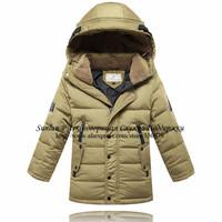 Children's winter down coat military models for boys,down hoody wind coat three quarter jacket,Kids'Clothing,YRF-002FreeShipping