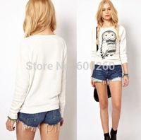 Women Animal O-neck Vintage loose t shirts Women white owl print tops full sleeve tops 2014 fashion free shipping