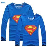 autumn spring 2015 new Lovers Clothes Superman long sleeve Couple Tee PANYA QQL07