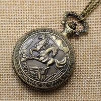 Retro Bronze Horse Quartz Pocket Watch Necklace Pendant Men Women Gift Hour P223