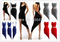 2014 Sexy Ladies Cotton Backless Party Asymmetrical Dress Women Sleeveless Night wear Clubwear S M L Hot New 4326 free shipping