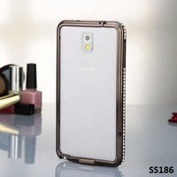 RETAIL, Note3 Aluminum Bumper, Luxury Crystal Diamond Frame for Samsung Galaxy Note 3 N9000 Note 2 N7100 Bumper Case, FREE SHIP