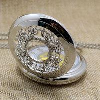 Antique Hollow Silver Tone Golden Number Quartz Pocket Watch Necklace Pendant Women Men Gift