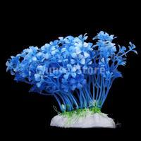 New 2014 Brand New  12cm Plastic Aquarium Plants Ornament for Fish Tank - Blue Free Shipping