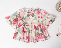 wholesale High quality,2014 New summer brand girl blouses floral,2-7yrs kids korea style tops,best choice for children clothes