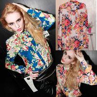 Hot new European and American plus size women's Slim sexy long-sleeved floral chiffon shirt chiffon shirt shirt female