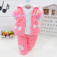 Free shipping!Children's clothing infant 0-18baby autumn and winter vest cotton-padded jacket set wadded jacket three piece set