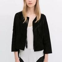 CT813 New Fashion Ladies' elegant Faux Suede Leather Fringe Jacket stylish coat outwear Cardigan causal slim brand designer tops
