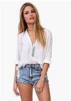 Hot new temperament European leg of female models long-sleeved V-neck shirt loose chiffon shirt 3 colors plus size
