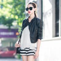 Motorcycle Coat New 2014 High Street Women Autumn Pu Leather Jacket Zipper Lady Fashion Slim Coat Plus Size S -XXXL
