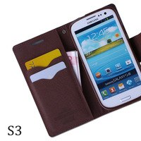 Case for Samsung Galaxy S3 flip leather double color wallet S III stand holder i9300 phone cases luxury left open Free shipping