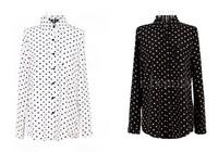 JHFS spring retro wave point chiffon shirt women's Korean polka dot long-sleeved shirt collar shirt bottoming