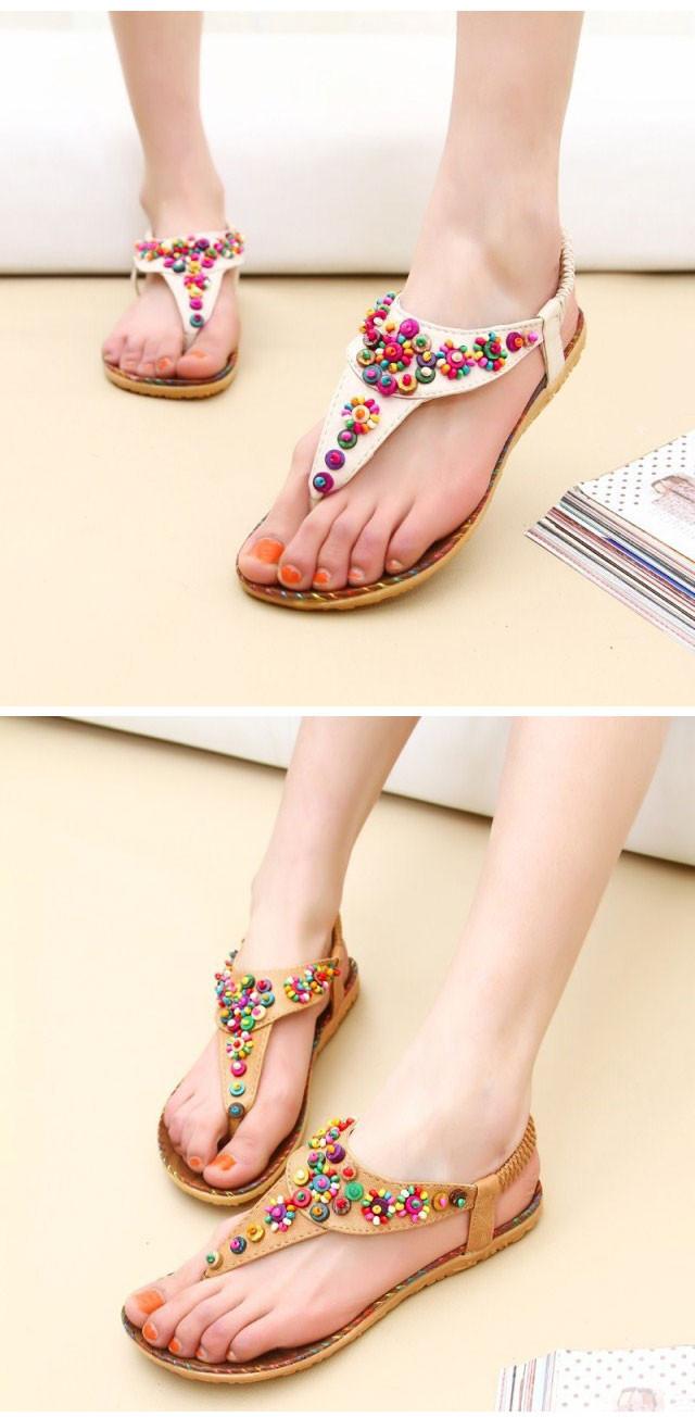 2014 moda primavera New Ladies planas Toe Post Shoes Flip Flops das mulheres sandálias Boho Summer Beach bege / Tan(China (Mainland))