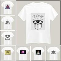Harajuku Triangle Eyes Print Tshirt For Women Men Short Sleeve Unisex Cotton Casual White Shirt Top Tee XXXL Big Size ZY055-17