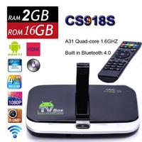 HOT CS918S Andriod 4.4 Smart TV Box  A31 Quad Core 2GB 16GB Built in 5.0MP Camera MIC XBMC Bluetooth 3G 4K WIFI Media Player