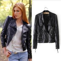 Women Winter Motorcycle Leather Jacket Coat Short  Zipper outerwear coats 2014 New Fashion jaqueta couro feminina