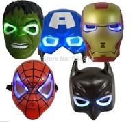 5pcs/lot New Cosplay Light-up Mask Toys The Hulk Captain America Batman Spiderman Ironman Party Masks Halloween Boy Kids Gift