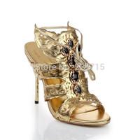 2014 New arrival hot sale women pumps brand women high heels fashion gold color cut out shoes woman size 35-41