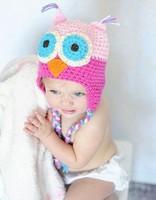 Owl Handmade wool little kids' knit baby boys' cap headwear Beanie girls' winter hat many colors