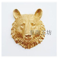 Home decoration animal head wall bear wall hanging decoration resin craft Christmas European and American creative home