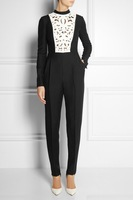 Free Shipping 2014 Spring Long Sleeve Hollow Out Jumpsuits For Women 86736