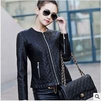 New 2014 Autumn And Winter Leather Jacket Women O-neck Slim Short PU Motorcycle Leather Jacket Women Plus Size Female Clothing