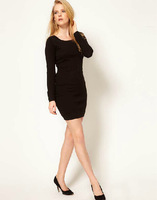 Back deep V-neck lace knitted patchwork long-sleeve o-neck black one-piece dress 6 full haoduoyi
