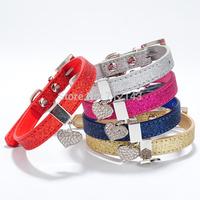 Wholesale 20pcs/lot PU Leather Dog or Cat Collar Heart Pendant Sparkly Pet Collar