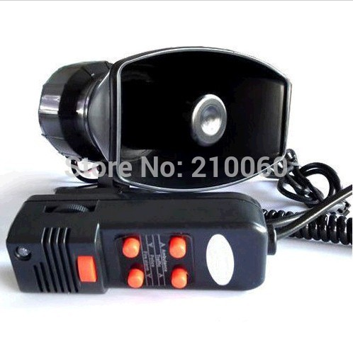 DC 12V 100W Motorcycle Car Auto Vehicle Truck 5 Sound Tone Loud Horn Siren Police Firemen Ambulance Warning Alarm Loudspeaker Va(China (Mainland))