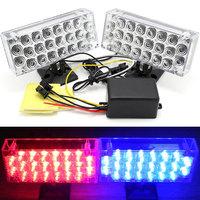 One Set LED Red&Blue Daytime running lights Flash Emergency Warning Strobe Light Car Grill Light 12V