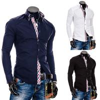 NEW 2014 male personality slim plaid decoration double collar fashion long-sleeve shirt men Blouses t-shirt
