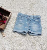 Cotton washing bowknot printing denim hot  shorts for girl