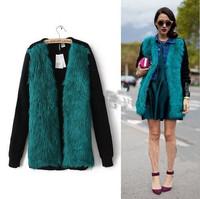 2014 autumn&winter fur coat women long sleeve V-neck fashion woman sweater blue fur printed woman winter cardigan