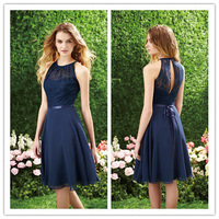 Girls Pageant Dresses Dresses Coutry Style Halter Sleeveless Lace Bridesmaid Dark Navy Top Prom Party Gowns 2014 New Fashion