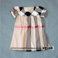 Hot 2014 new Spring&autumn kids cute plaid tutu dress children princess party dress girls 3 color short-sleeve dresses