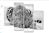 00% handmade Leopard oil painting modern wall art beauty living room paintings 4 panels wall canvas Animal paintings