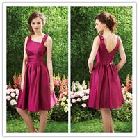 Vestido De Festa Dresses Hot Sale New Spaghetti Taffeta Fuschia Bridesmaids With Ruffles V Back Prom Party Gowns 2014 Fashion