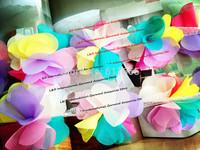 Free CPAM 6cm chic rainbow shabby chiffon rosewedding flower lace trim,chiffon hair rose flower,20yards/lot